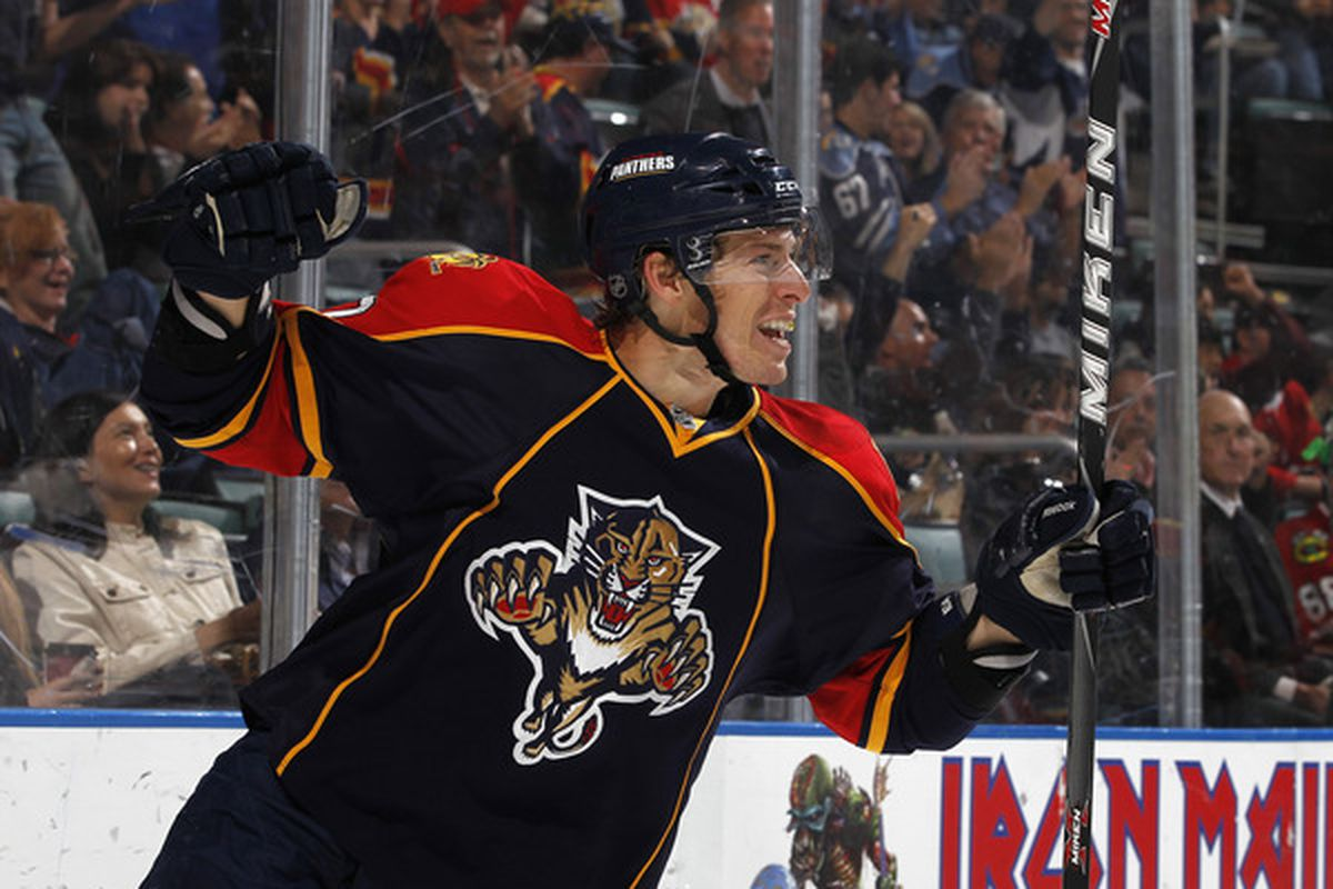 SUNRISE, FL - MARCH 8: David Booth #10 of the Florida Panthers celebrates his first period goal against the Chicago Blackhawks on March 8, 2011 at the BankAtlantic Center in Sunrise, Florida. (Photo by Joel Auerbach/Getty Images)