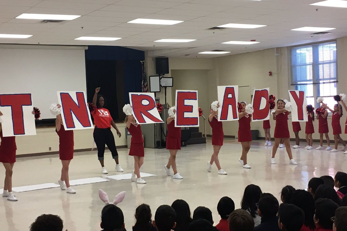 Students at Wells Station Elementary School in Memphis hold a pep rally before the launch of state tests, which took place between April 17 and May 5 across Tennessee.
