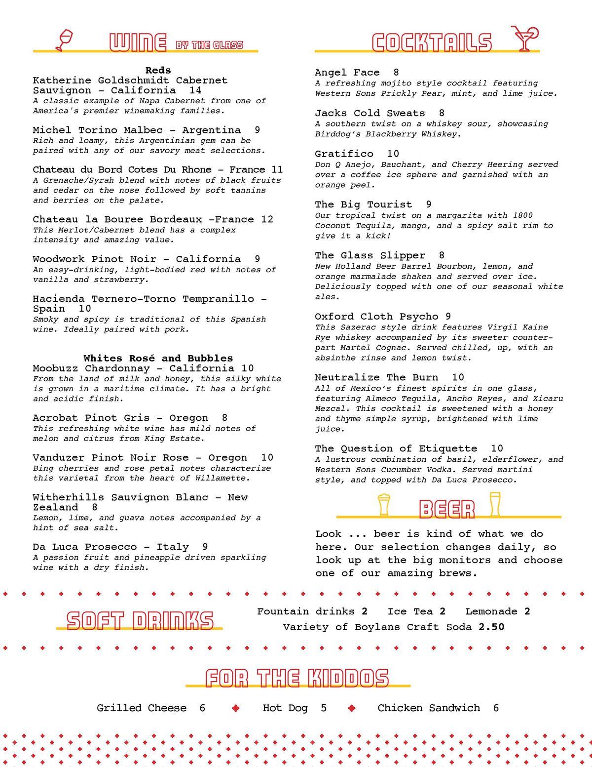 Barleygarden drink menu