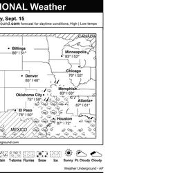 This is the Weather Underground forecast for Saturday, September 15, 2012 for the central region of the U.S.