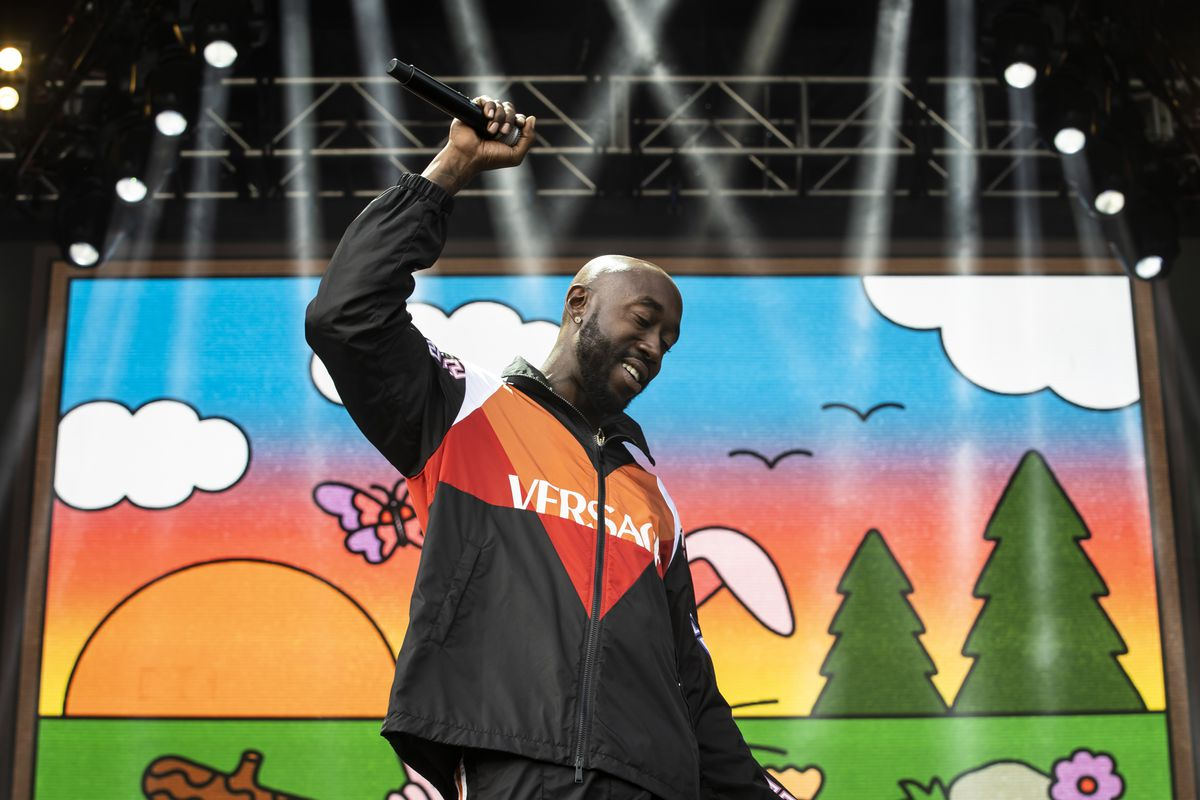 Freddie Gibbs performs on day three of Lollapalooza in Grant Park.
