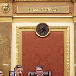 Gov. Jon Huntsman Jr. addresses the House of Representatives as the final session of the 2009 Utah Legislature is adjourned at the Capitol Thursday.