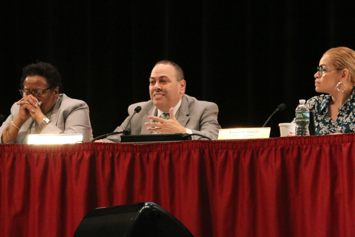 Newark Superintendent Roger León at a district budget hearing in March.