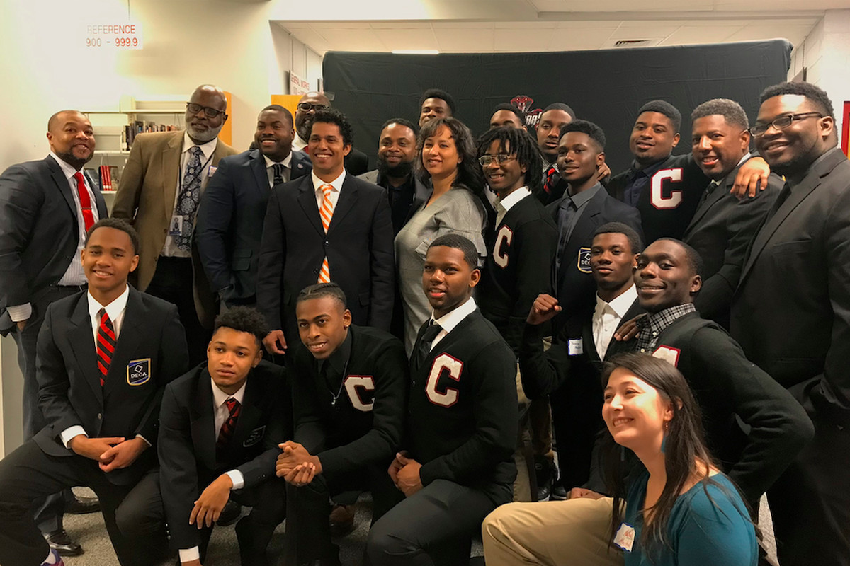 Leaders of Project Stand for formerly incarcerated students, student advocacy group Bridges, Shelby County Juvenile Court, and Shelby County Schools pose after students presented recommendations to reduce suspensions and expulsions.