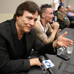 """Richard Hatch, who played Captain Apollo in the original """"Battlestar Galactica"""" as well as Tom Zarek in the reboot of """"Battlestar Galactica,"""" talks to the media press conference at Utah's first Comic Con at the Salt Palace Convention Center in Salt Lake City on Thursday, Sept. 5, 2013."""