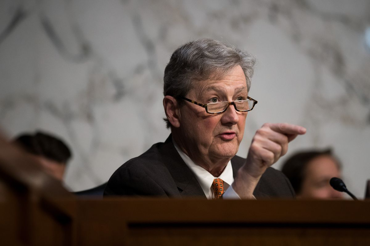 Sen. John Kennedy (R-Miss.) questions witnesses during a Senate Judiciary Subcommittee on Crime and Terrorism hearing.