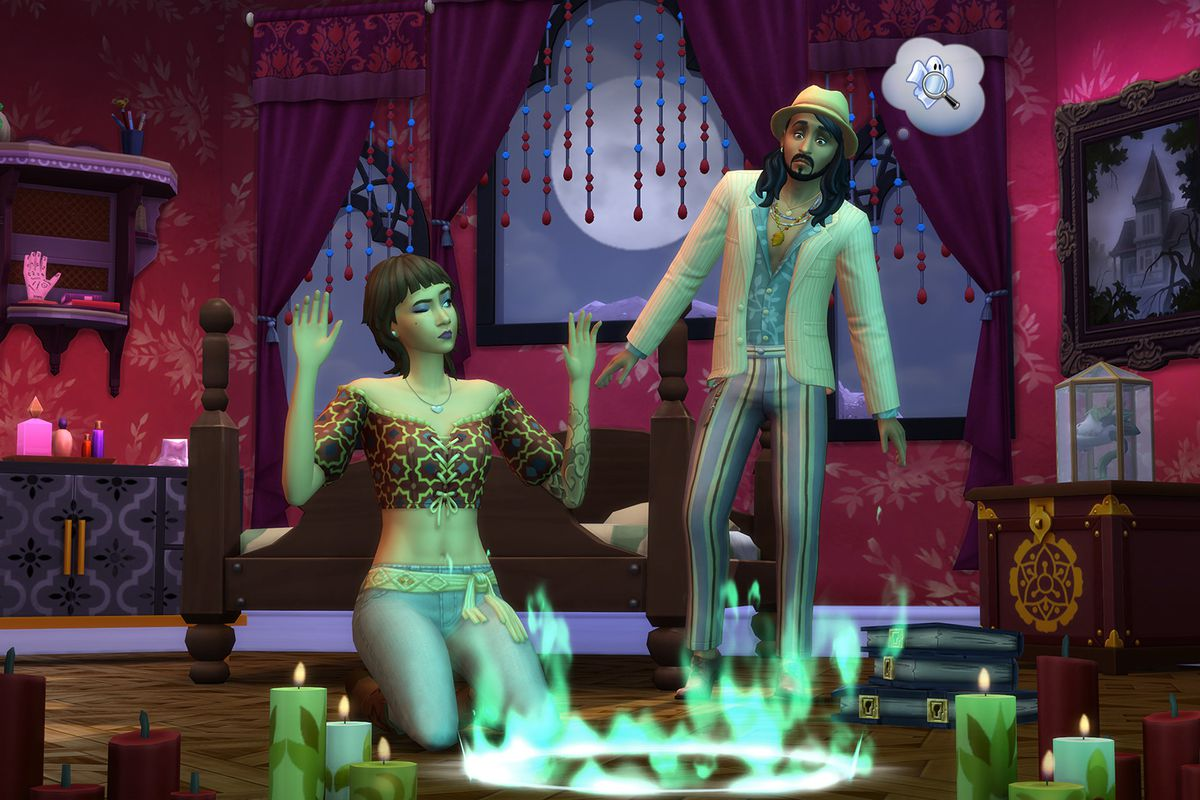 The Sims 4 - paranormal investigators gather around an altar, preparing to take part in a supernatural ritual.