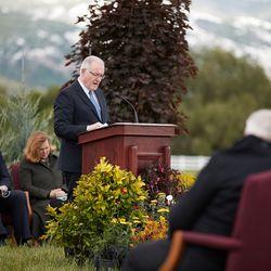 Elder Randy D. Funk of the Utah Area Presidency gives the dedicatory prayer at the groundbreaking of the Layton Utah Temple on Saturday, May 23, 2020.