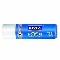 """When you drink too much, you feel the dehydration in your lips too. Try <a href=""""http://www.drugstore.com/nivea-lip-care-a-kiss-of-moisture/qxp191225"""">Nivea's A Kiss of Moisture</a> lip balm, $2.39."""