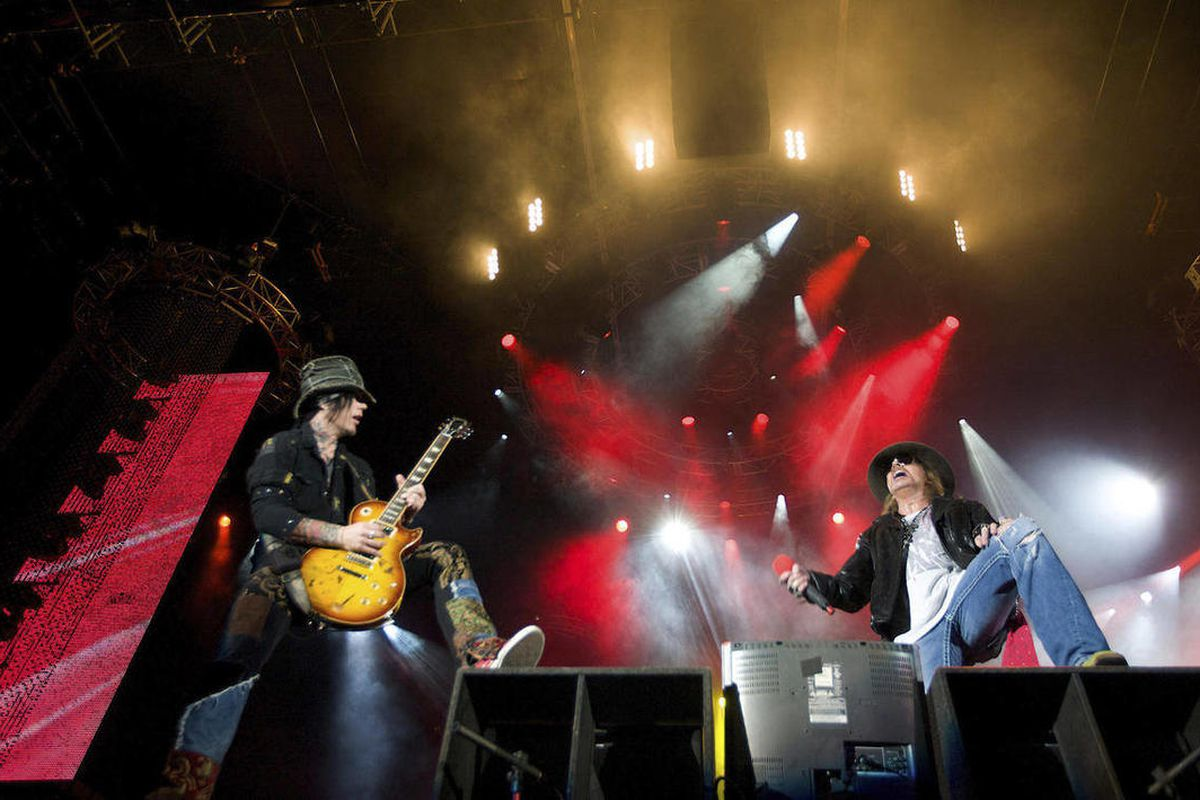 FILE - In this Dec. 16, 2010, file photo, Guns N' Roses performs during a concert on the Yas Island in Abu Dhabi, United Arab Emirates. Rock Hall spokesman Todd Mesek said Monday, April, 9, 2012, that Green Day members Billie Joe Armstrong, Mike Dirnt and