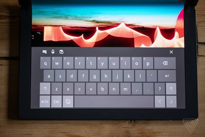 The ThinkPad X1 Fold's onscreen keyboard.