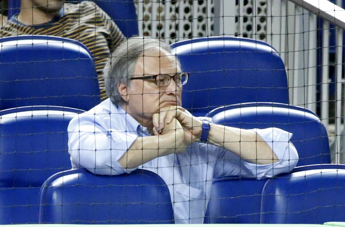 Miami Marlins owner Jeffrey Loria watches during the eighth inning of a baseball game between the Marlins and the New York Mets.