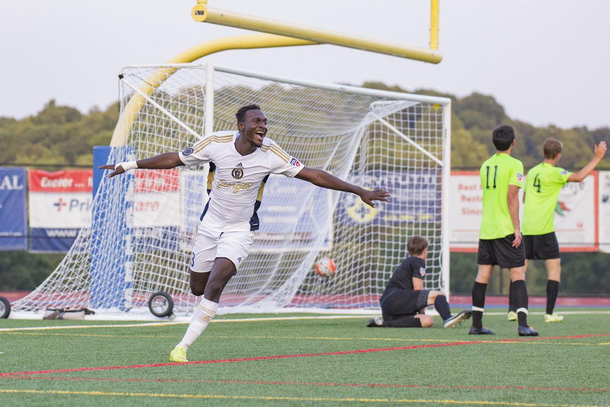 Ismael Noumansana celebrates his first score of the season