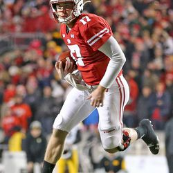 Badger QB Jack Coan. Coan was 16 of 25 in passing for 173 yards, 2 TDs and 1 INT.
