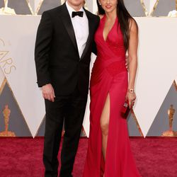 Best Actor nominee Matt Damon and Luciana Damon. What's the leg slit count up to now? Photo: Todd Williamson/Getty Images
