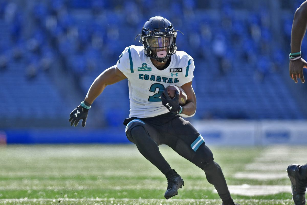 Coastal Carolina running back Reese White runs upfield on his way to the end zone for a second quarter touchdown in a college football game between the Coastal Carolina Chanticleers and Georgia State Panthers on October 31, 2020, at Center Parc Credit Union Stadium in Atlanta, GA.