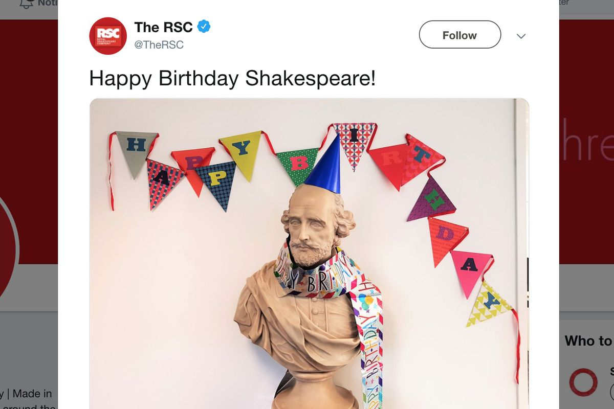 April 23 is believed to be both William Shakespeare's birthday and death date.