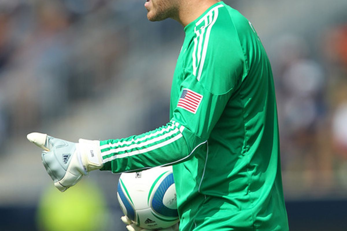 CHESTER PA - JULY 31: Goal keeper Chris Seitz #1 of the Philadelphia Union shouts instructions to teammates during a game against the New England Revolution at PPL Park on July 31 2010 in Chester Pennsylvania. (Photo by Hunter Martin/Getty Images)