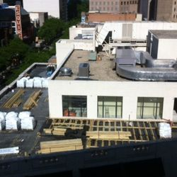 The view of the rooftop construction from Barneys