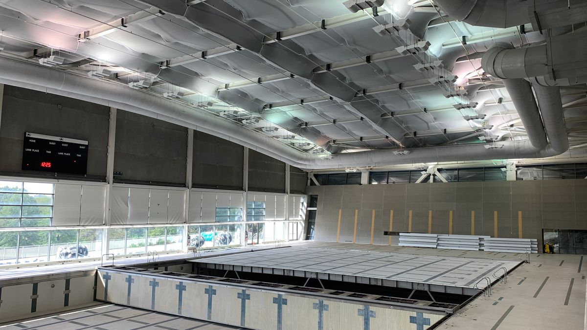 The Flushing Meadows Corona Park Pool still had netting on its ceiling after undergoing several years of renovations.