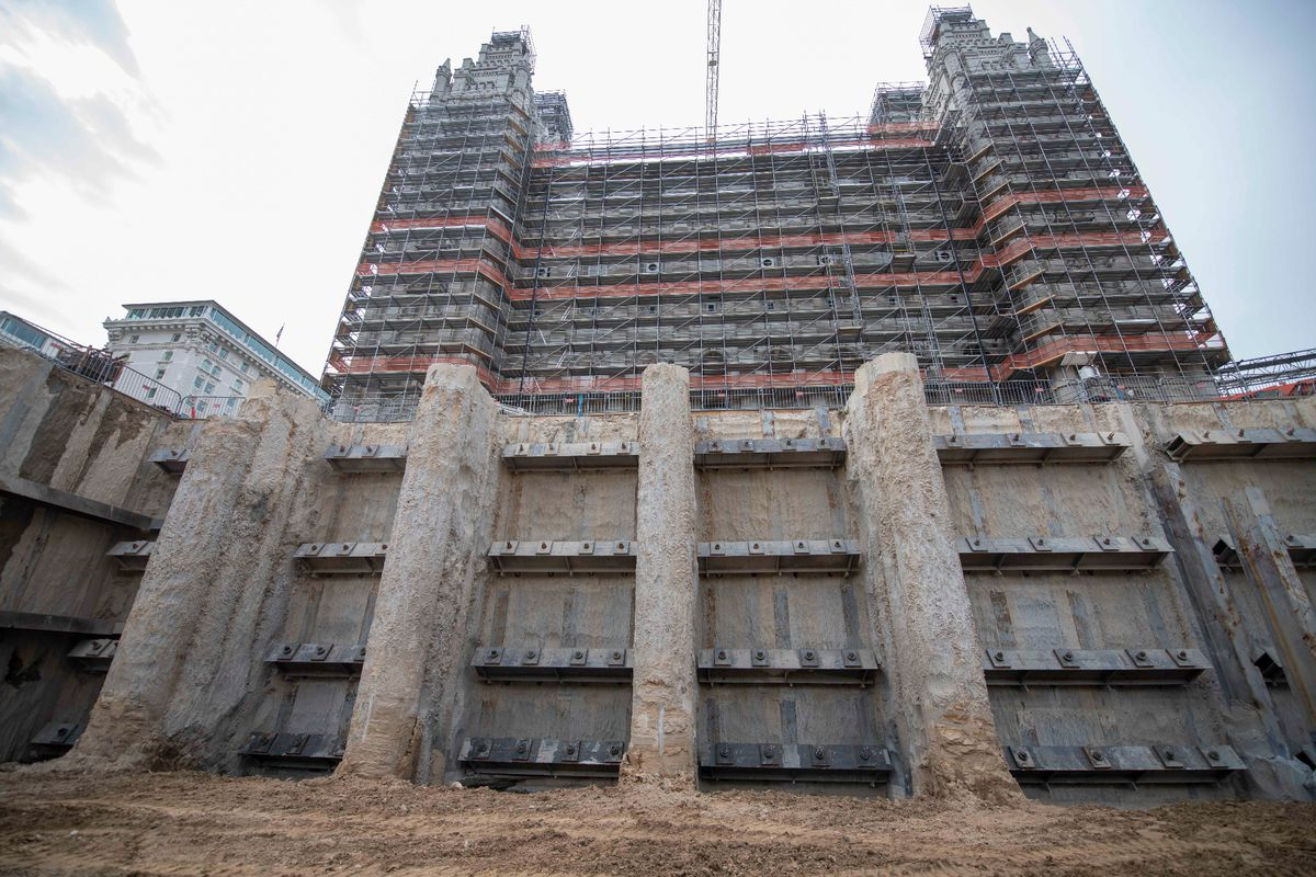 The secant wall surrounding the temple is uncovered to prepare for the three future floors underground, Salt Lake City, Utah, Sept. 2021.