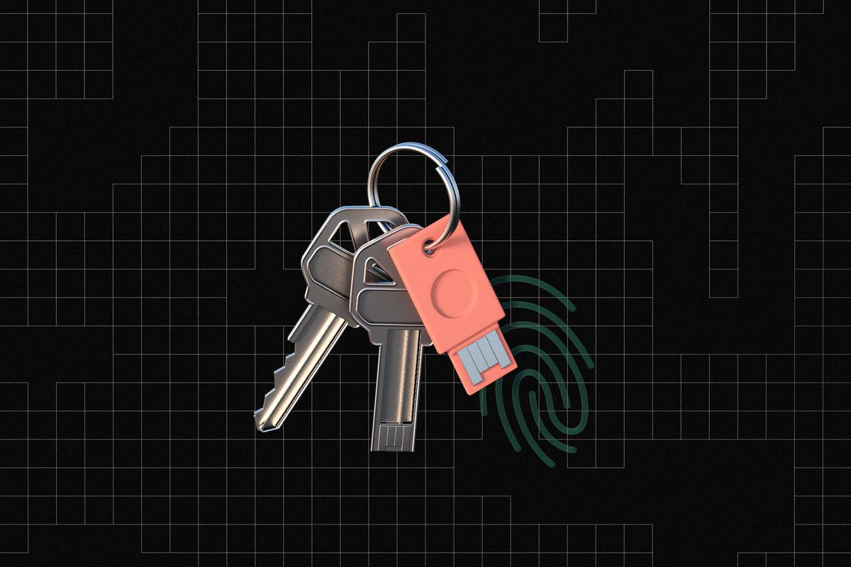 An illustration of a key ring with a regular house hold type key, small flash drive, and a key that has the connector of a flash drive all on the ring. A thumb print is next to the key ring.