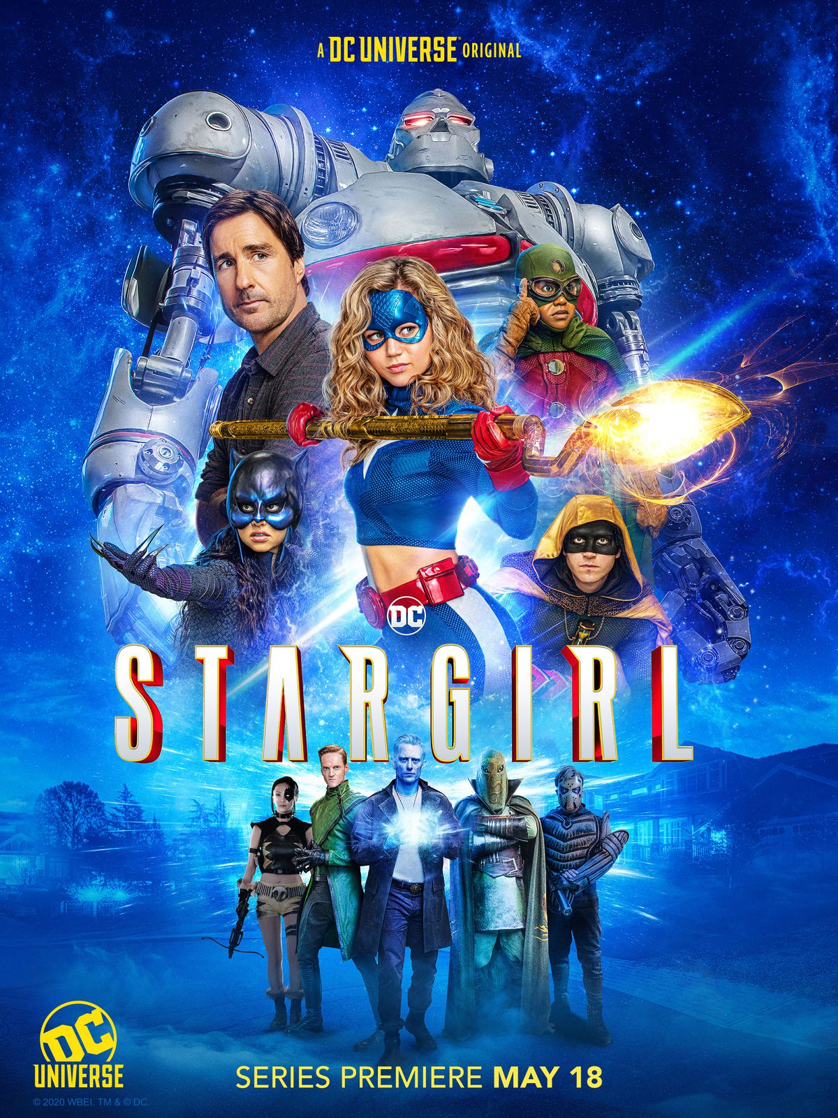 The cast of Stargirl on a poster, including STRIPE the robot exosuit, Pat Dugan, Stargirl, Doctor Mid-Nite, Wildcat, Hourman, and various villains.