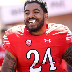 Utah's Kenric Young laughs after the annual Red & White Spring Game at Rice-Eccles Stadium in Salt Lake City on Saturday, April 15, 2017.