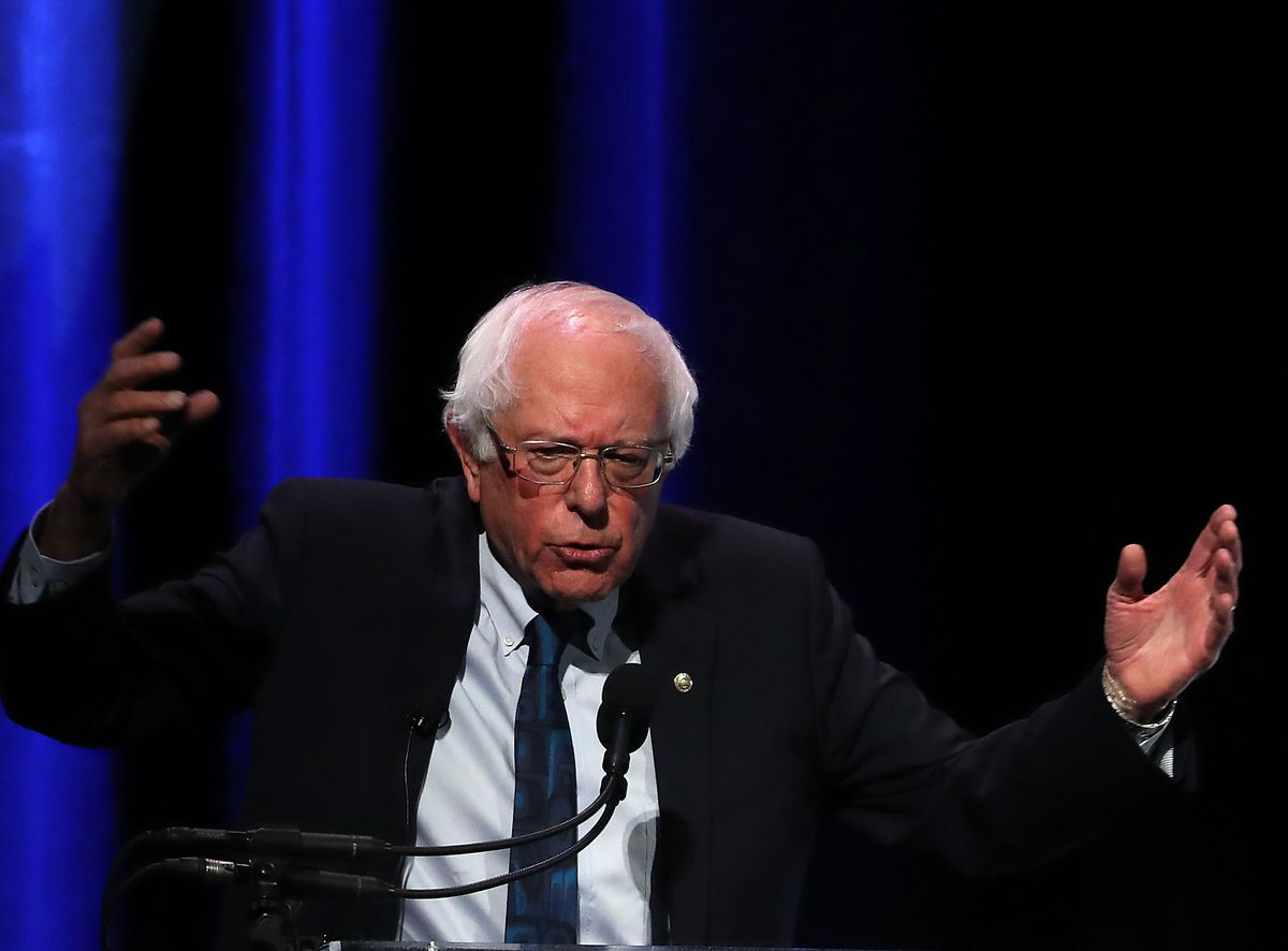 "Burni Sanders (I-VT) speaks during the ""We are with People"" summit, representing presidential candidates in 2020, in the Warner Theater April 1, 2019 in Washington, DC."