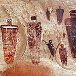 Pictographs believed to date from A.D. 300 to 1700 B.C. rise as ghostly images in Horseshoe Canyon.