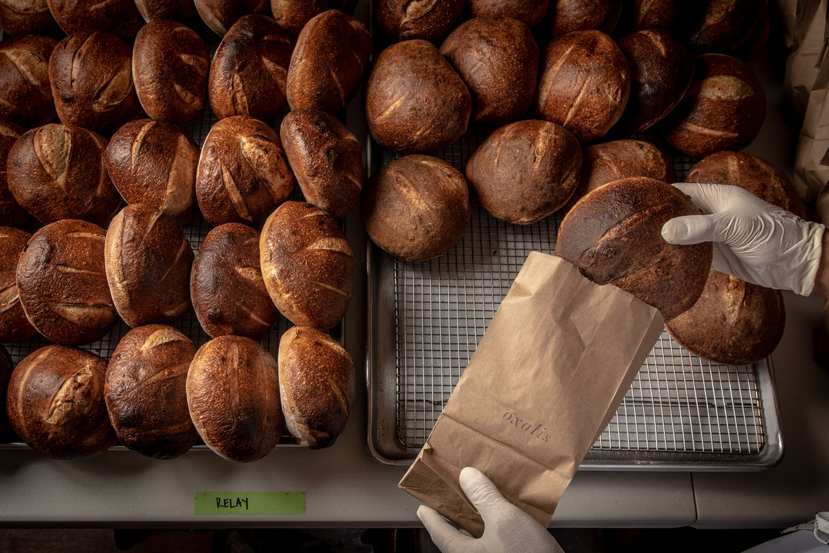 Trays of sourdough bread being packaged for Boxalis