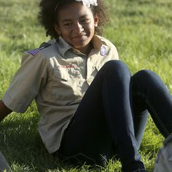 Aysha Wright smiles during a Boy Scout meeting for the all-female Troop 314 at Parkview Park in Stansbury Park on Monday, July 6, 2020.