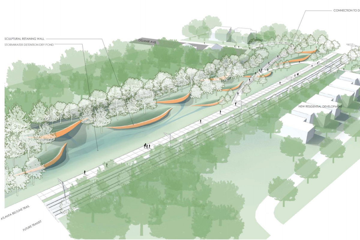 The latest Southside Trail renderings show how sculptural retaining walls and future transit might look near Delmar Avenue in Grant and Ormewood parks.