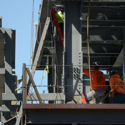3:03 p.m. Close-up view of the bast of the right-field video board structure -