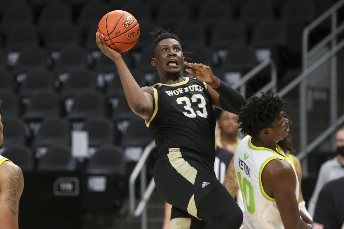 Wofford Terriers forward B.J. Mack shoots against the South Florida Bulls in the second half of a Holiday Hoopsgiving game at State Farm Arena.