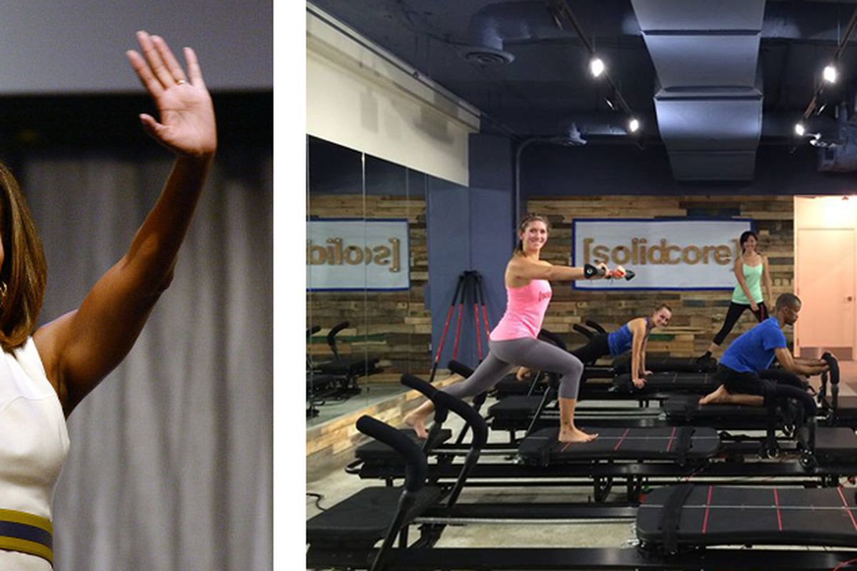 """Michelle Obama's toned arms via Getty, SolidCore via <a href=""""https://www.facebook.com/Solidcore/photos/pb.145049175694218.-2207520000.1406724211./168524713346664/?type=3&amp;theater"""">Facebook</a>"""