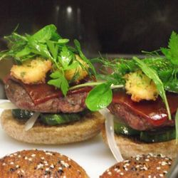 Host Chef Richard Blais' scientifically engineered burgers, ready to be served.