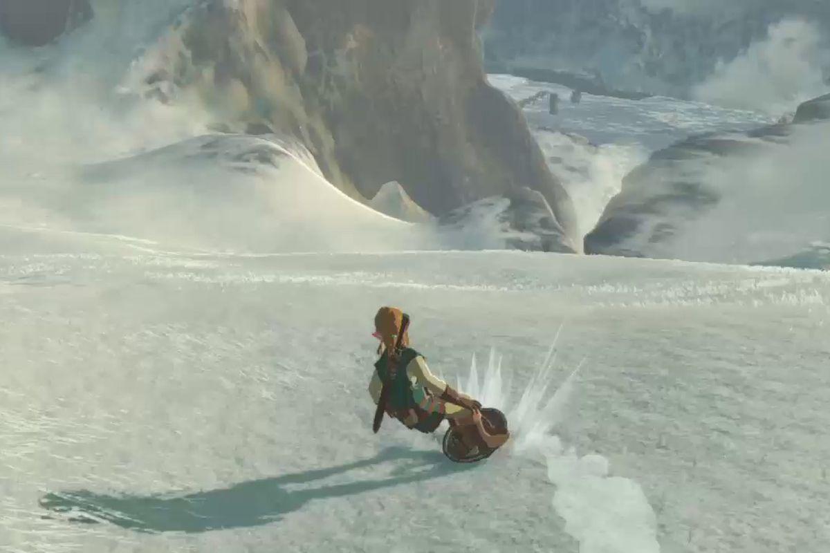 The Legend of Zelda: Breath of the Wild - snowboarding screencap