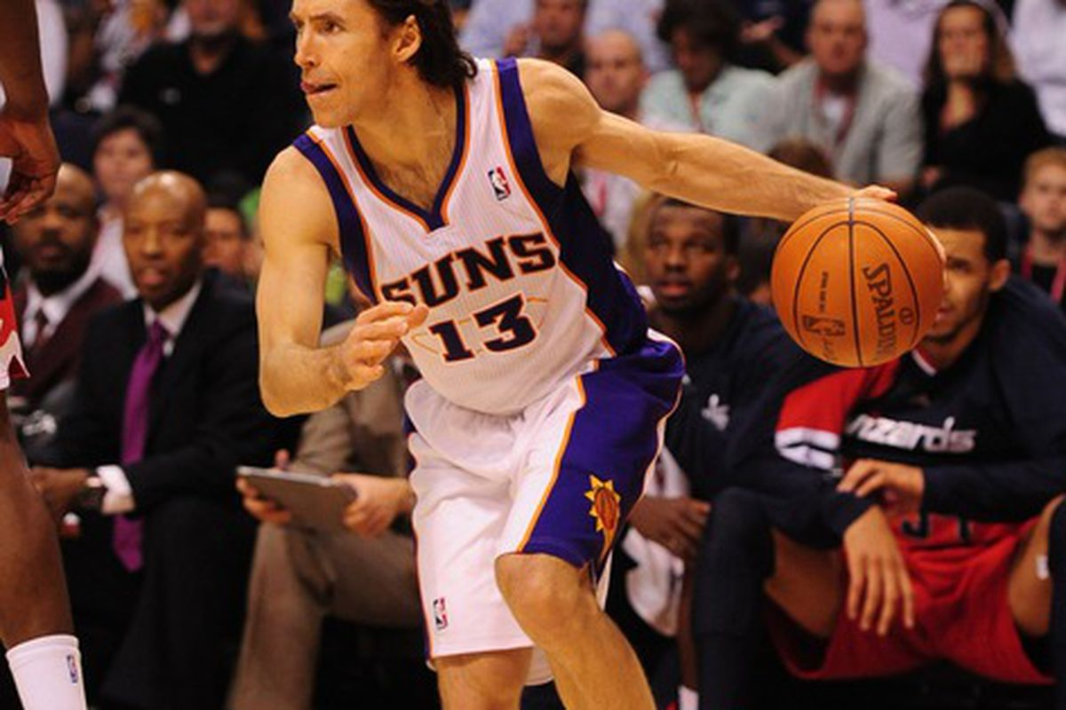 Feb. 20, 2012; Phoenix, AZ, USA; Phoenix Suns guard Steve Nash during game against the Washington Wizards at the US Airways Center. The Suns defeated the Wizards 104-88. Mandatory Credit: Mark J. Rebilas-US PRESSWIRE