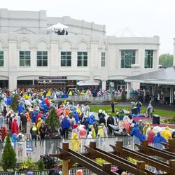 What in better weather would be a packed paddock pavilion.