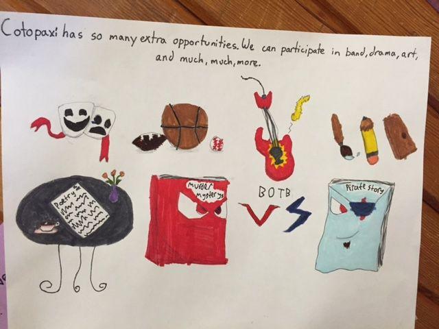 Student artwork extolls the benefits of Cotopaxi schools.