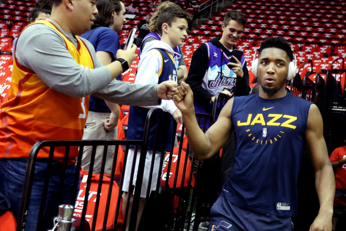 Utah's Donovan Mitchell acknowledges Jazz fans before taking on the Houston Rockets in Game 5 of a first-round NBA basketball playoff series in Houston on Wednesday, April 24, 2019.