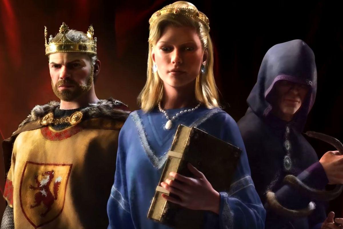 A queen holds power in an alternate version of the CK3 key art.