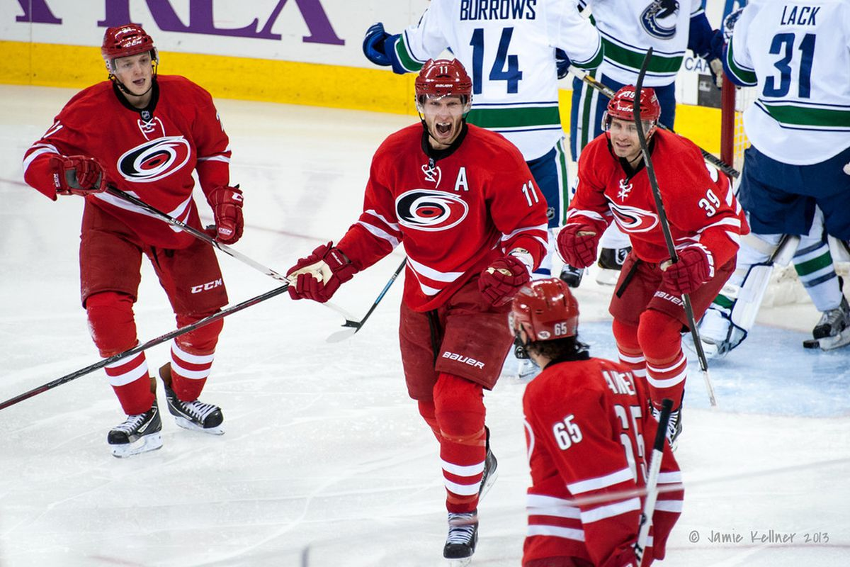 Jordan Staal scored for the second straight game and was Carolina's best player against the Canucks.