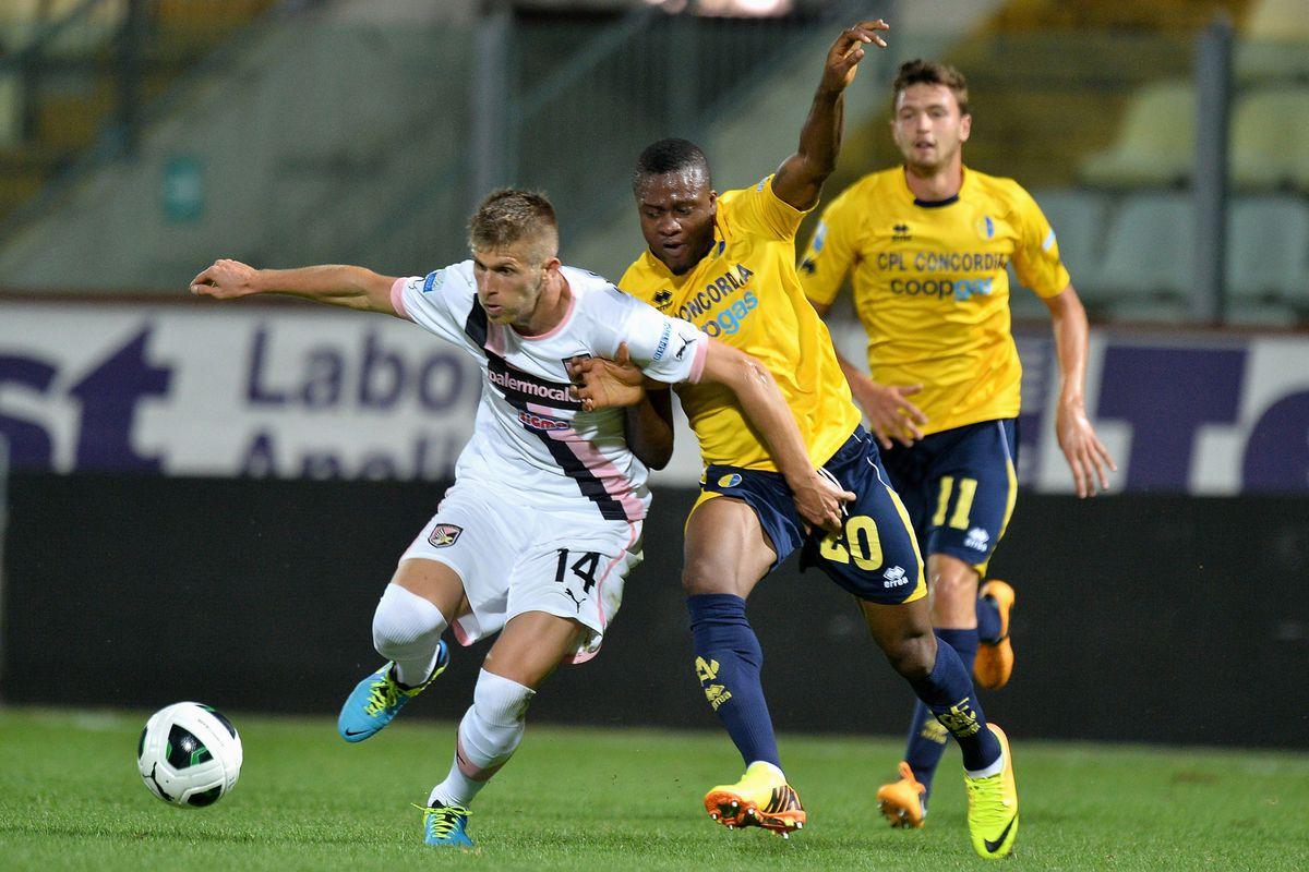 Amidu Salifu during the win against Palermo in Coppa Italia