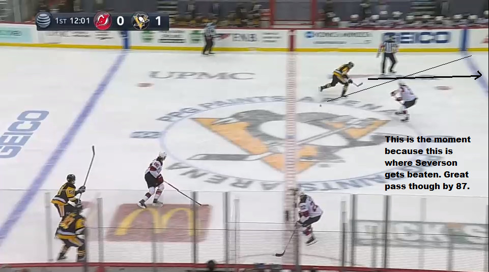 April 20: Sidney Crosby makes a perfect bank pass to spring Rust past Severson. Live and then, I thought Severson was beaten badly. But the pass was perfectly placed and Rust had forward progress.  Most (all?) defensemen would have been beaten here.
