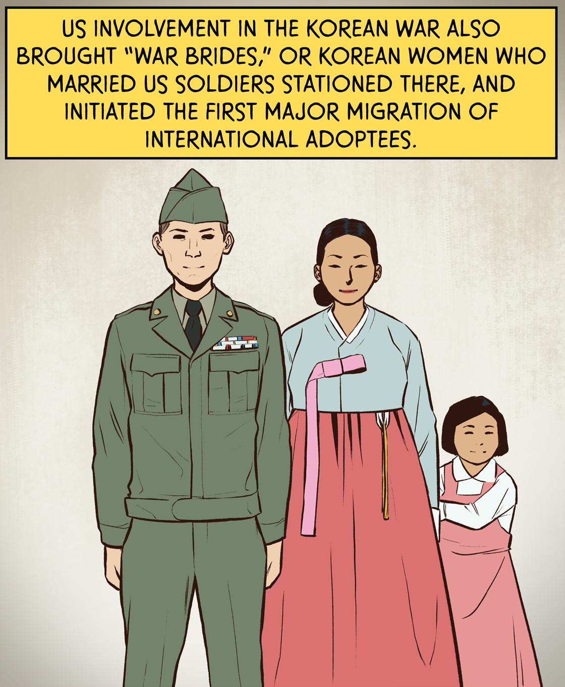 """U.S. involvement in the Korean War also brought """"war brides,"""" or Korean women who married US soldiers stationed there, and initiated the first major migration of international adoptees."""