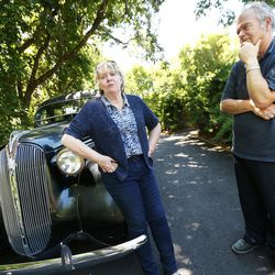 Dr. Terrell Thomson has a medical degree, a Ph.D. — and Alzheimer's disease. He was diagnosed in January, and his wife Debbie is his caregiver. They talk Friday, June 23, 2017, next to a vintage 1937 Plymouth car that Terrell restored.