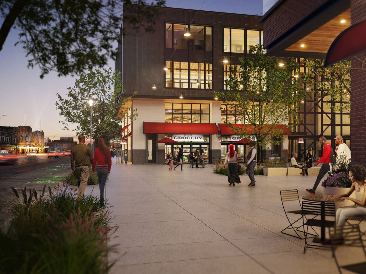A twilight rendering of a large cement plaza in Jefferson Chalmers with people sitting at tables or walking, surrounded by a several-story building with a red awning.