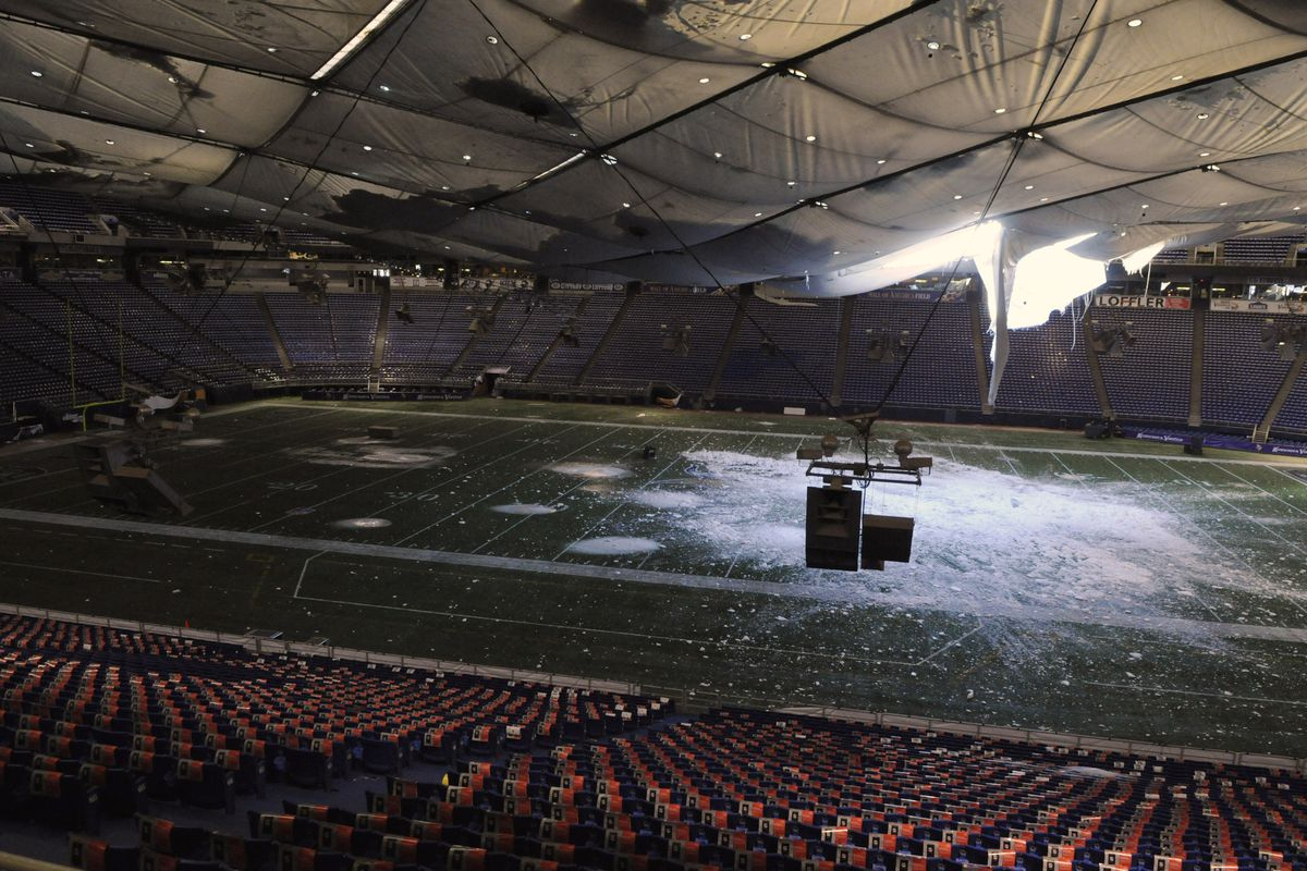 Repairs Continues After Metrodome Roof Collapses